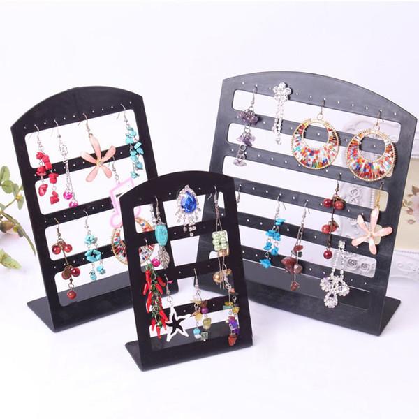 best selling Black Transparent Plastic Earring Display Stand Earring Holder 24holes 48holes 72holes Jewelry Organizer Earrings Storage Rack