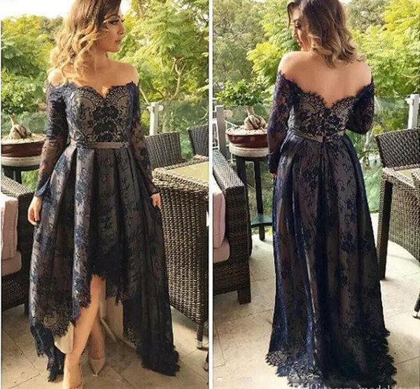Long Sleeves Full Lace Prom Dresses 2018 Off The Shoulder A Line High Low Arabic Navy Blue Evening Pageant Party Gowns Cheap Custom