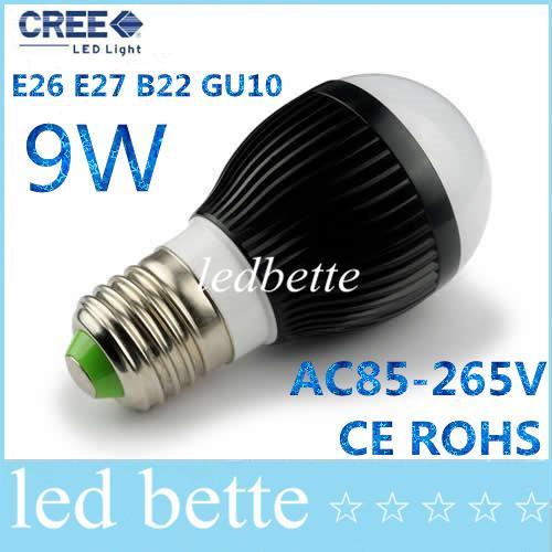 50pcs/lot AC85-265V dimmable 9w 3X3W E27 E14 B22 GU10 base type warm / cold white LED bubble ball bulb spotlight corn lamp