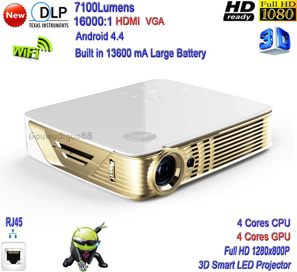 2018 New DLP High Brightness 7100 Lumens Home Theater Smart 4K Projector Full HD 1080P 3D WiFi Android 4.4 LAN LED Projector