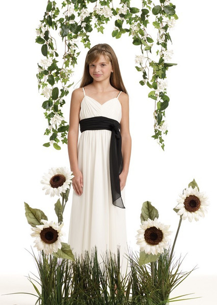 Yüksek Kaliteli Bir Çizgi Sweep Tren Fildişi Şifon Siyah Sashes Düşük Fiyat Genç Gelinlik Modelleri Ücretsiz Kargo Çiçek Kız Elbise