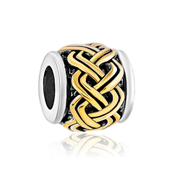 10pcs per lot 2 Tones Gold Silver Plated Chinese Knot Culture Lucky European Charm Bead Fit Pandora Bracelet