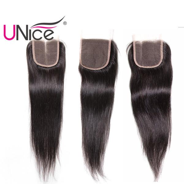 UNICE Cheveux Péruvienne Droite Partie Libre Fermeture Vierge Cheveux Humains Brésiliens 4x4 Dentelle Fermetures Indienne Remy Cheveux Top Fermetures Malaisienne
