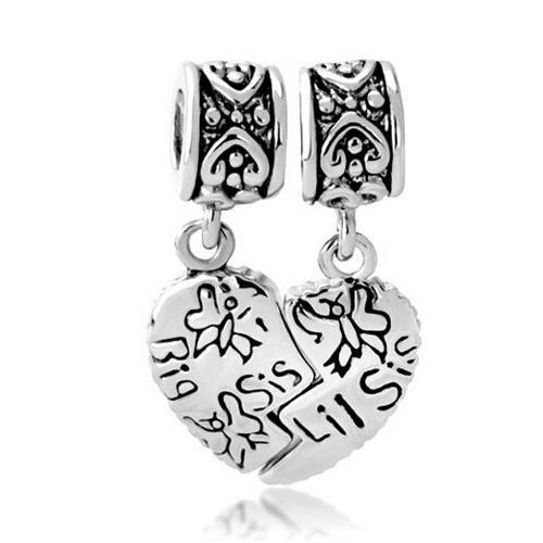 Coração de ródio irmã mais velha e irmã mais nova conjunto Dangle Charme fit pulseira Pandora Chamilia Biagi