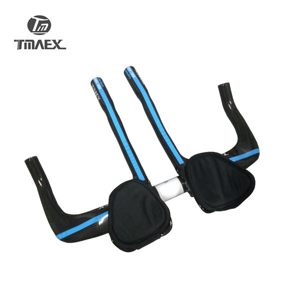 TMAEX-080 100% Carbon Fiber Racing TT Rest Handlebar With TT Extention Road Carbon TT Bar 3K Blue Glossy Bicycle Parts
