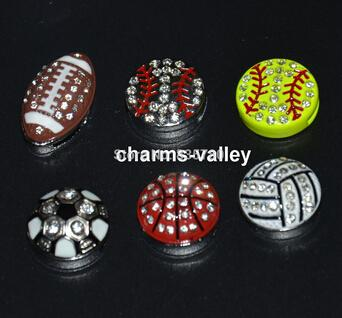 Wholesale-Newest Design! 50PCS 8MM Mixed Style Rhinestone Balls Slide Charms Fit 8mm Wristband Belt Key chains Phone Strips