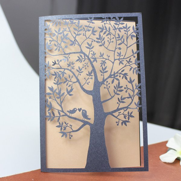 Laser cutting holiday cards blue cuntry tree love birds invitation card thank you card custom made free shipping