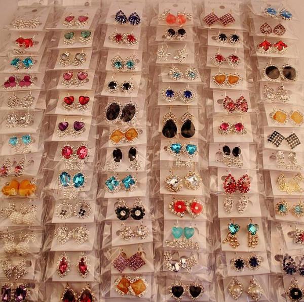 best selling Fashion Top Quality New mix 100 Styles 100 Pair Diamond Earrings Pearl Earrings Buckle Jewelry For Women Wedding Earrings Stud