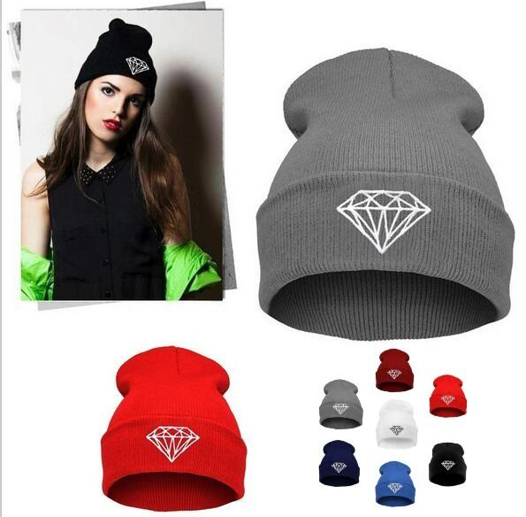 Fashion Winter Hat Diamond Hats For Women Knitted Slouchy Beanie Womens  Bonnet Skull Chunky Stocking Hats 209046b26a7