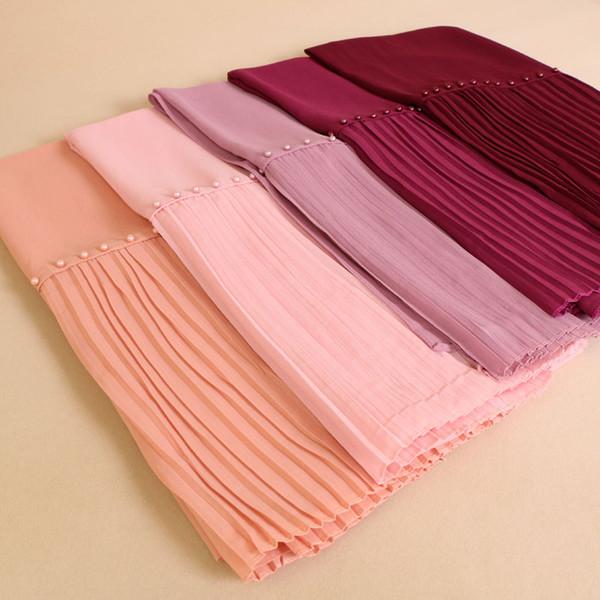 Al por mayor-Laven perlas remiendo plisado burbuja gasa perla arrugas mantones hijab cortina costura bufandas musulmanas / bufanda 20 color 10pcs / lot