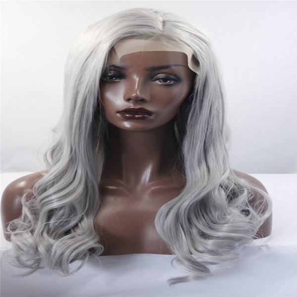 kabell Fashion wigs wlave front wigs Gray Color Long Straight Hair Natural Looking Synthetic Wigs For Women African American fashion wig