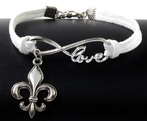 10 pezzi d'argento d'epoca amore infinity fleur de lis charms braccialetto braccialetto per le donne di colore misto braccialetto corda velluto gioielli regali accessori