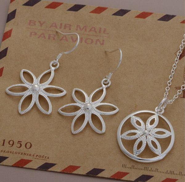 Мода шарм подвеска диск цветы 925 серебряные серьги ожерелье ювелирные наборы 10 компл./лот