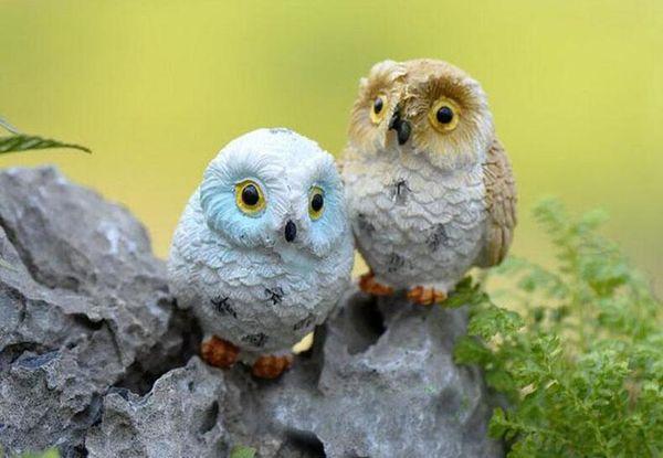 Micro Mini Fairy Garden Miniatures Figurines Resin Owl Birds Animal Figure Toys Home Decoration Ornament Free Shipping