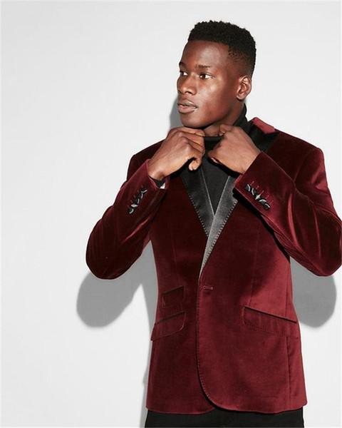 Classic Design Dark Red Velvet Groom Tuxedos Groomsmen Best Man Suit Mens Wedding Suits Bridegroom Business Suits (Jacket+Pants+Tie) NO:701