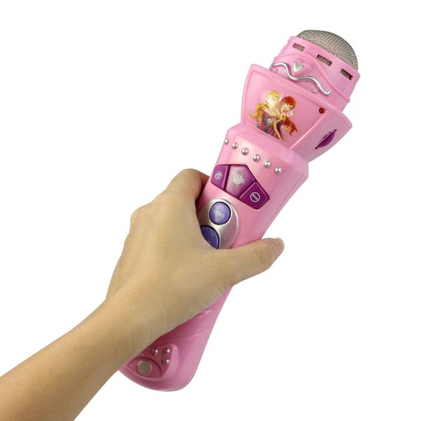 Pink Wireless Girls boys LED Microfono Mic Karaoke Singing Kids Divertente regalo Music Toy