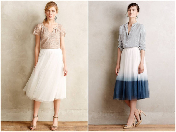 2016 Wholesale Adults Women Elegant Tulle Tutu Skirts Gradient Tea Length Wedding Party Dresses Cheap Occasion Prom Gowns 3 Layers Summer