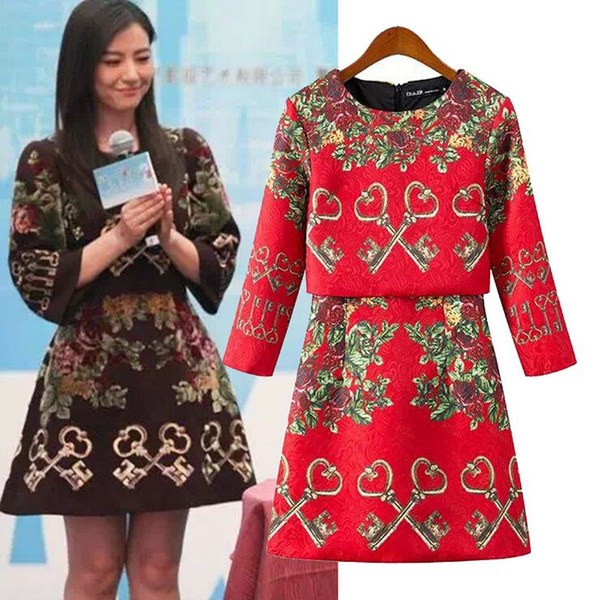 Vestidos De Festa Curtos New 2015 European Fashion Brand Spring Dress Vintage Long Sleeve Women Keys Jacquard Mini Vestido HY250