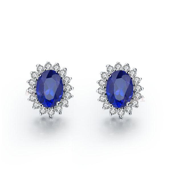 3 carat/pair amazing bright Excellent water drop shape synthetic diamond stud earrings blue semi-gemstone earrings for women