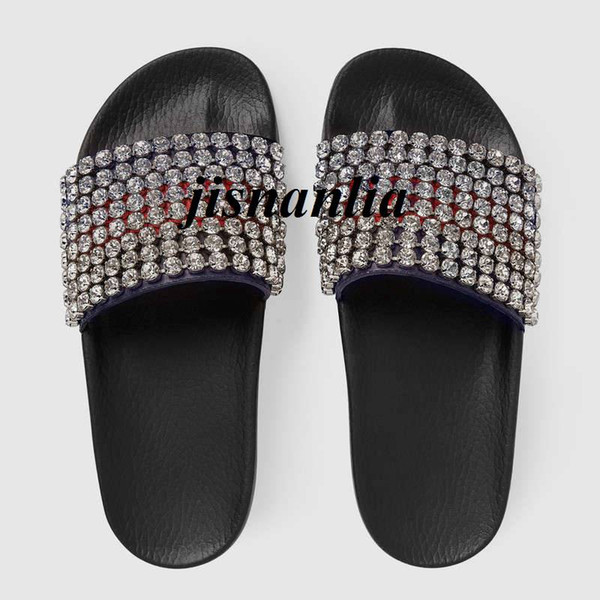new arrival mens and womens fashion stripe causal flat slippers slide sandals with crystals adults flip flops free shipping