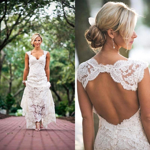top popular Elegant 2020 Full Lace Pastoral style Sheath Wedding Dresses Ivory V neck Capped Bridal Gowns Keyhole Back Beach Maternity Wedding Dress 2019