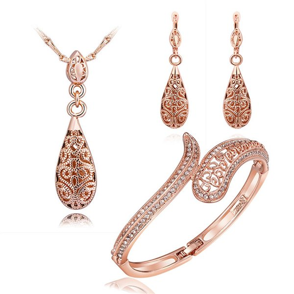 Fashion Jewelry Set 18K rose gold necklace & bangles & earrings with crystal beautiful Christmas gift for woman Top quality free shipping
