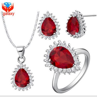 Luxury Wedding Jewelry Sets for Bridal 18K White Gold Plated Tear Drop Red Swiss Cubic Zirconia Diamond Necklace Earrings Ring Set ZS534