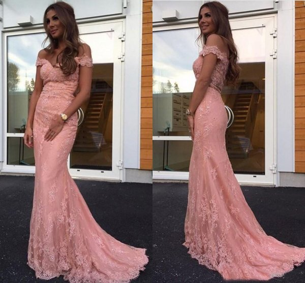 Blush Pink Mermaid Evening Dresses Off Shoulder Lace Appliquen Sweep Long Guest Formal Prom Gown 2017-2018