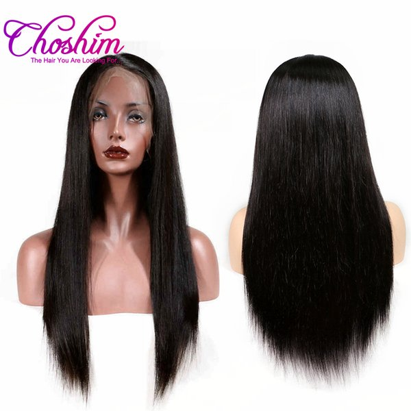 Choshim Slove Silky Straight 360 Lace Frontal Wig Pre Plucked 150% Density Lace Front Human Hair Wigs With Baby Hair Remy