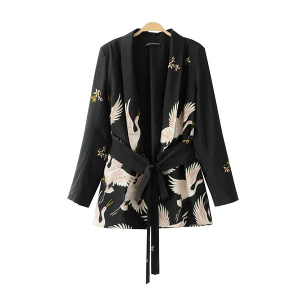 Wholesale- PEONFLY2017Fashion Women Red Crowned Crane printing Kimono style jacket Casual Long sleeve Coat Vintage Knotted belt Loose Tops