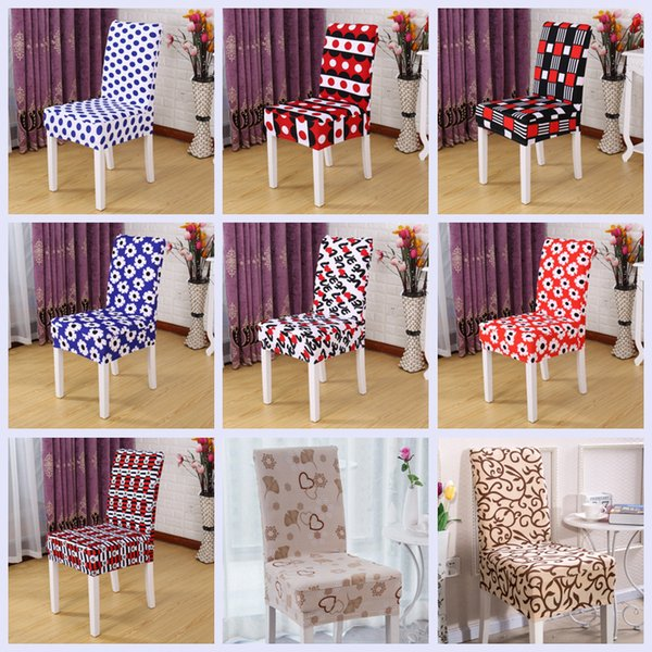 Remarkable Spandex Banquet Printed Stretch Chair Sets Simple Conjoined Chair Covers Home Dining Chair Cover Wedding Party Chaircovers 26 Styles Yfa92 Furniture Creativecarmelina Interior Chair Design Creativecarmelinacom