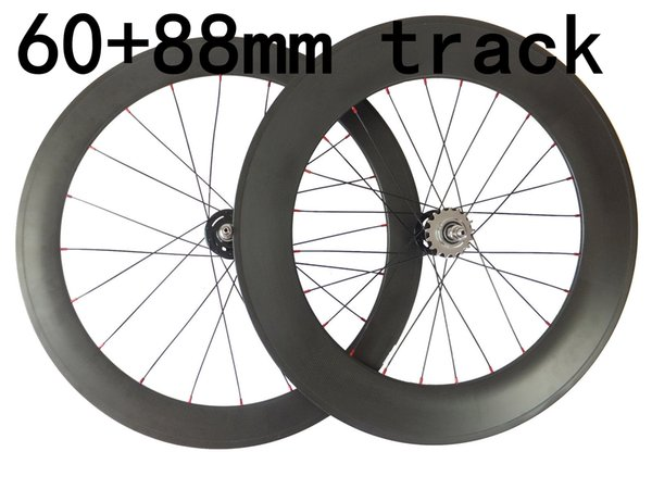 Fixed Gear carbon Road Bike wheels front 60mm rear 88mm carbon bicycles wheelset 20.5mm rims 3K weave glossy matte finish