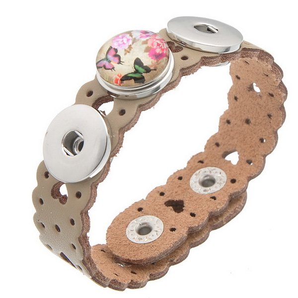 SALE! Mixed Copper Leather Buckle Fashion Bracelets Fit noosa Snaps Fashion Buttons of Heart shaped Ginger Snaps 10 colors 10pcs