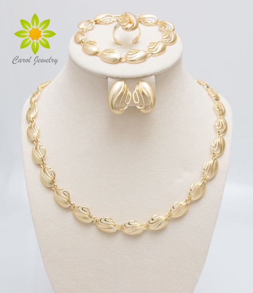 Free Shipping 18K Gold Plated Jewelry Sets For Wedding Fashion African Women Elegant Costume Necklace Sets