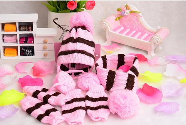 6pc/Set Fashion Winter Dog Pet Puppy Hat Scarf Kneelet Leg Warmer for Small Dog Yorkies XXS XS S M L