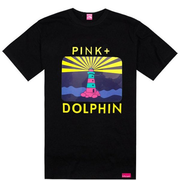Rising Sun Sail pink dolphin tshirts famous brand tees streetwear hip hop t-shirt summer hot sale rock clothing cotton,free shipping tee