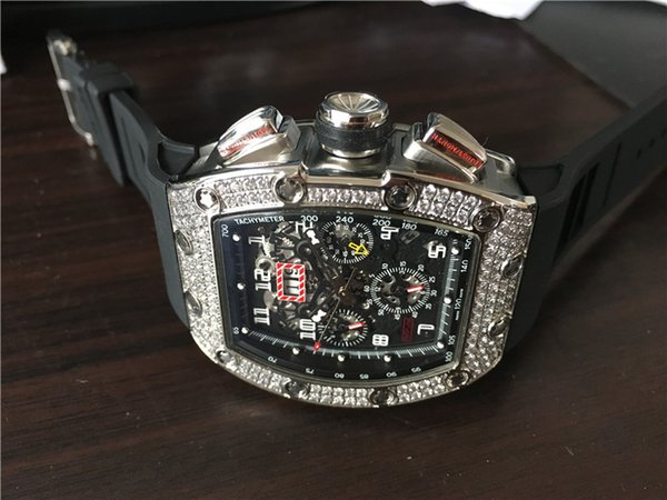 New arrival men's sport watch top brand quality luxury watches mechanical wristwatch skeleton dial diamonds bezel black rubber strap 020
