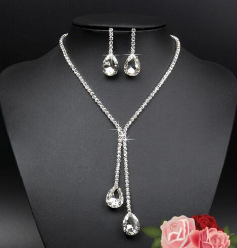top popular 925 Sterling Silver Plated Bridal Jewelry Set Waterdrop Rhinestone Crystal Necklace Earrings for Women Wedding Statement Jewellery 2019