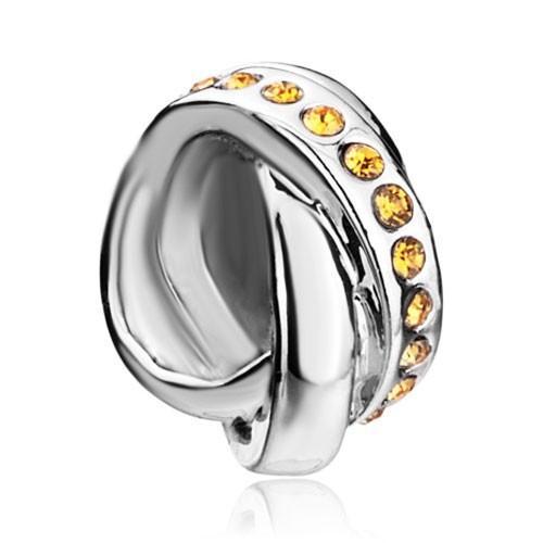 crystal couple Ring European Bead Fit Pandora Chamilia Biagi Charm DIY Bracelet