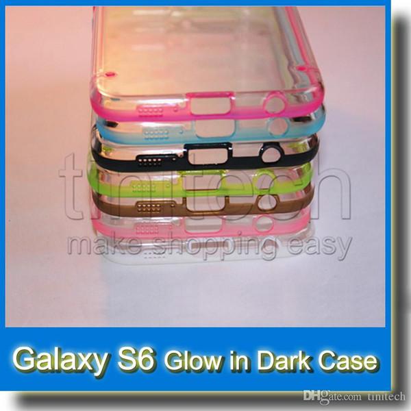 For Samsung Galaxy S6 SVI G9200 G920F Glow in Dark Luminous Hybrid TPU Silicone + PC Case Plastic Hard Dual Color Clear Fashion Skin Cover