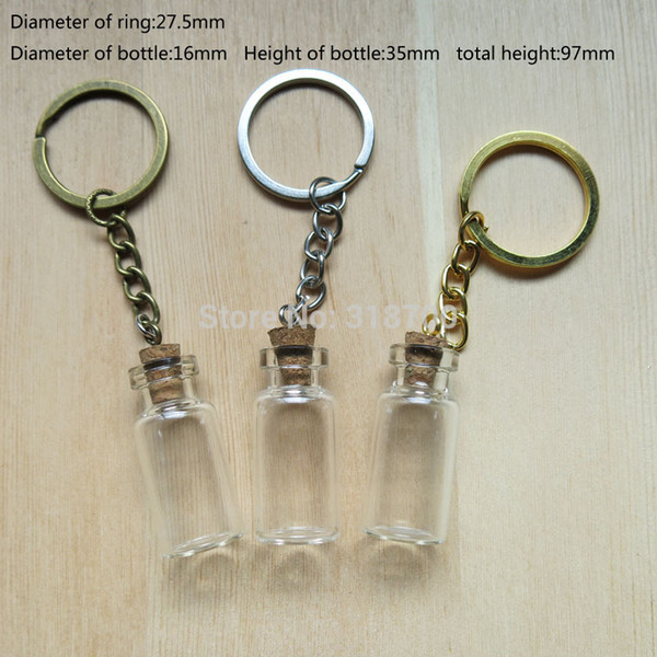 3ml Kleine Glasflasche mit Schlüsselkette, 3ml Glasflasche Anhänger mit Augenhaken Mini Cork Wunschflasche und Geschenkflaschen