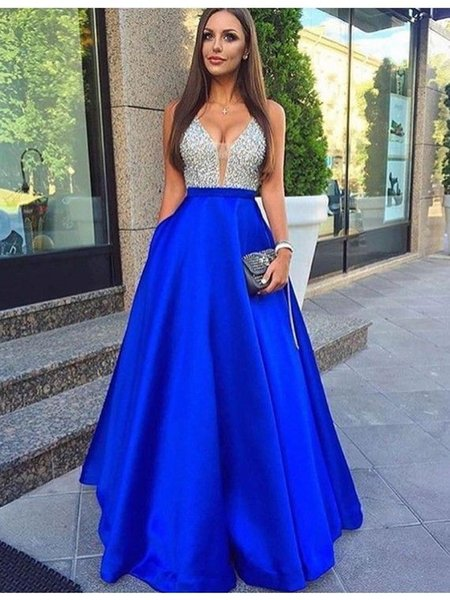 Summer Beautiful Royal Blue Long Prom Dresses Top Crystal Beaded Evening Dresses Plugging V neck Robe De Soiree Holiday Dresses Evening Wear