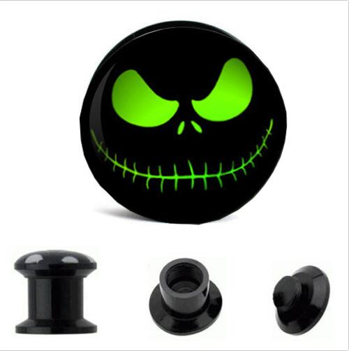 Black Ear Gauges Plugs and Flesh Tunnels,Saddle fit Ear Stretcher Expander green Skull logo mix 4-16mm mix 64pcs