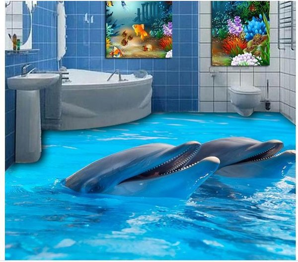 Custom photo floor wallpaper 3D stereoscopic Dolphins 3D floor 3d mural PVC wallpaper self-adhesion floor wallpaer 20157007