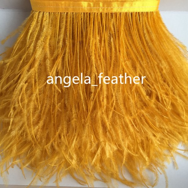 20yards/lot 5-6inch/12-15cm Gold Yellow Natural Ostrich Feather Trimming dress decoration DIY craft feather Wedding supplies