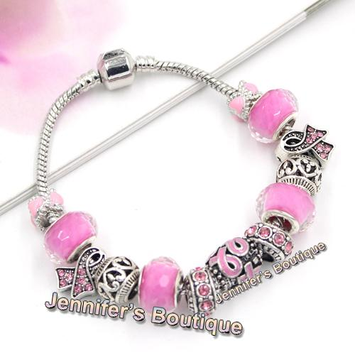 New Arrival Breast Cancer Awareness Jewelry DIY Interchangeable Breast Cancer Pink Ribbon Bracelet Jewelry Wholesale