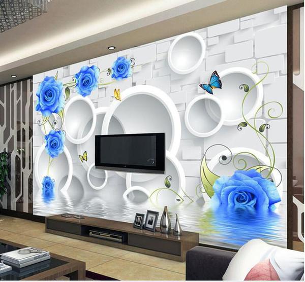 Papel de parede 3D TV pano de fundo círculo rosas azuis mural adesivo de parede novo grande papel de parede papel de parede costomize tamanho 896828