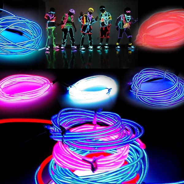 3M Flexible Neon Light Glow EL Wire Rope Tube Flexible Neon Light 8 Colors Car Dance Party Costume+Controller Christmas Holiday Decor Light