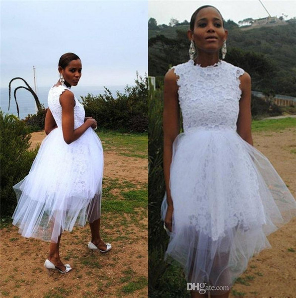 2016 New Fashion White Lace Evening Dresses Formal Tea Length Covered Tulle Garden Beach Prom Gowns Formal Party Gowns