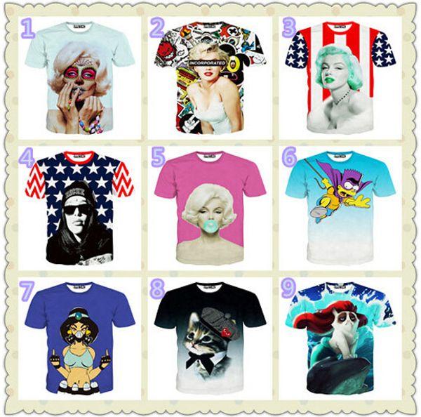Men's short-sleeved T-shirt 3D Kitten beauty stars printing short sleeve t shirts for men mix order